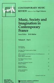 Cover of: Music, Society and Imagination in Contemporary France (Contemporary Music Review) | F. Mache