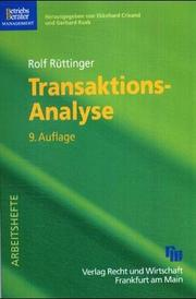 Cover of: Transaktions-Analyse | Rolf Rüttinger