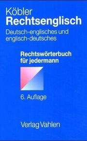 Cover of: Rechtsenglisch by Gerhard Köbler