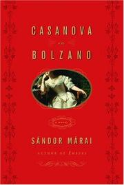 Cover of: Casanova in Bolzano | Sandor Marai