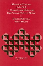 Cover of: Rhetorical criticism of the Bible by Duane Frederick Watson
