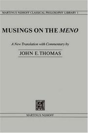Cover of: Musings on the Meno by Thomas, John E.