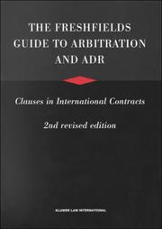 Cover of: The Freshfields Guide to Arbitration and ADR Clauses in International Contracts | Jan Paulsson
