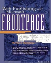 Cover of: Web Publishing With Microsoft Frontpage | Martin Matthews