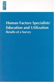 Cover of: Human Factors Specialists'Education and Utilization | National Research Council.