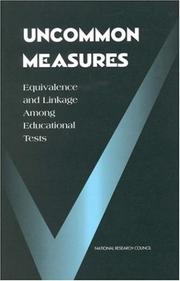 Cover of: Uncommon Measures by National Research Council.