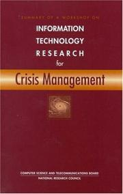 Cover of: Information Technology Research for Crisis Management | National Research Council.