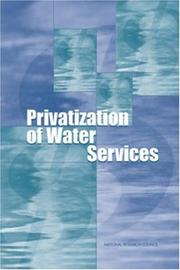 Cover of: Privatization of Water Services in the United States by National Research Council.