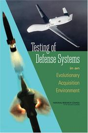 Cover of: Testing of Defense Systems in an Evolutionary Acquisition Environment | National Research Council.