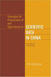 Cover of: Strategies for Preservation of and Open Access to Scientific Data in China | National Research Council.