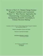 "Cover of: Review of the U.S. Climate Change Science Program's Synthesis and Assessment Product 5.2, ""Best Practice Approaches for Characterizing, Communicating, ... Uncertainty in Climate Decision Making"" by National Research Council."