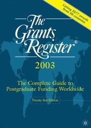 Cover of: The Grants Register r, 2003, Twenty | Waterlow Specialist Information Publishing