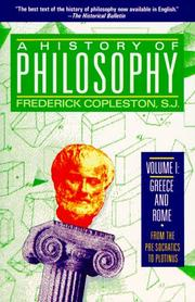 Cover of: History of Philosophy, Volume 1 (History of Philosophy) | Frederick Charles Copleston