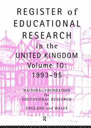 Cover of: Register of Educational Research in the United Kingdom by Natl Foundation