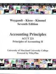 Cover of: (WCS)Accounting Principles, 7th Edition Acct 221 UMUC | Jerry J. Weygandt