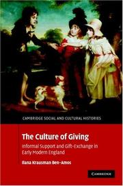 Cover of: The Culture of Giving | Ilana Krausman Ben-Amos