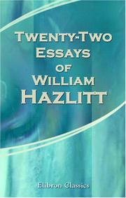 Cover of: Twenty-Two Essays of William Hazlitt | William Hazlitt