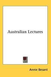 Cover of: Australian Lectures | Annie Wood Besant