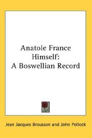 Cover of: Anatole France Himself | Jean Jacques Brousson