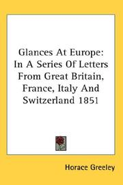 Cover of: Glances At Europe | Horace Greeley