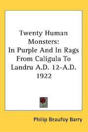 Cover of: Twenty Human Monsters by Philip Beaufoy Barry