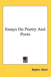 Cover of: Essays On Poetry And Poets | Roden Noel