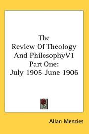 Cover of: The Review Of Theology And Philosophy | Allan Menzies