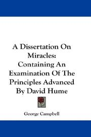 Cover of: A Dissertation On Miracles by George Campbell