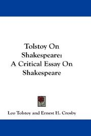 Cover of: Tolstoy on Shakespeare by Leo Tolstoy