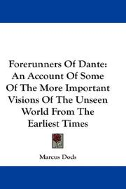 Cover of: Forerunners Of Dante | Marcus Dods