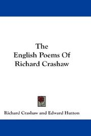 Cover of: The English Poems Of Richard Crashaw by Crashaw, Richard