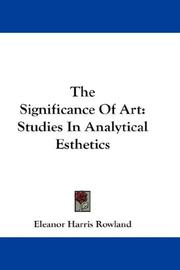 Cover of: The Significance Of Art | Eleanor Harris Rowland