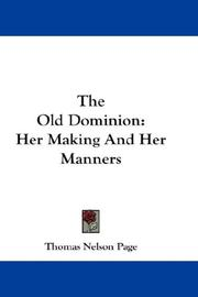 Cover of: The Old Dominion | Thomas Nelson Page