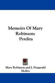 Cover of: Memoirs Of Mary Robinson | Mary Robinson