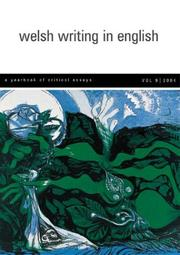 Cover of: Welsh Writing in English, Volume 9 by Tony Brown