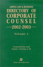 Cover of: Directory Of Corporate Counsel 2002-2003 by Aspen Law & Business