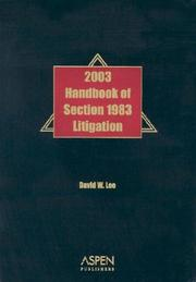 Cover of: Handbook of Section 1983 Litigation, 2003 by David W. Lee