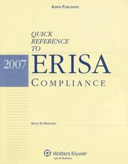Cover of: Quick Reference to Erisa Compliance by Barry M. Newman