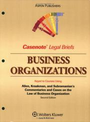 Cover of: Casenote Legal Briefs Business Organizations by Casenotes