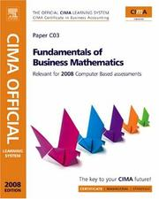 Cover of: CIMA Learning System Fundamentals of Business Maths, Second Edition (Cima Learning System) (CIMA Certificate Level 2008) | CIMA