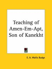 Cover of: Teaching of Amen-Em-Apt, Son of Kanekht | Ernest Alfred Wallis Budge