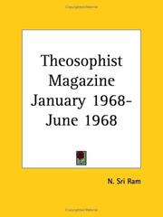 Cover of: Theosophist Magazine January 1968-June 1968 | Sri Ram, N.