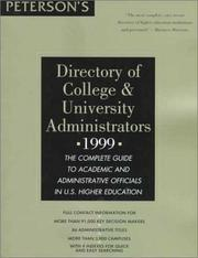 Cover of: Peterson's Directory of College & University Administrators 1999 | Petersons Publishing