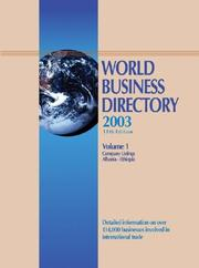 Cover of: World Business Directory 2003 (World Business Directory) | Deborah J. Baker