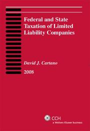 Cover of: Federal and State Taxation of Limited Liability Companies (2008) by David J. Cartano