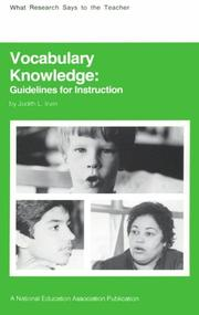 Cover of: Vocabulary knowledge | Judith L. Irvin