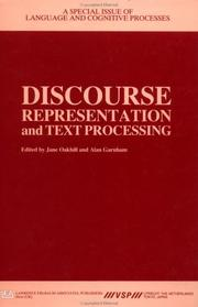 Cover of: Discourse Representation and Texts by Oakhill/Ga
