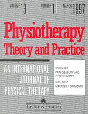 Cover of: PAIN DISABILITY AND PHYSIOTHERAPY | Simmonds