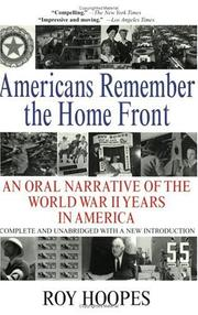 Cover of: Americans Remember the Home Front by Roy Hoopes