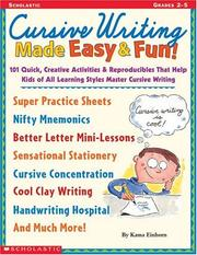 Cover of: Cursive Writing Made Easy & Fun! (Grades 2-5) | Kama Einhorn